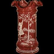 "Cranberry Glass - ""Mary Gregory"" - Fenton Vase"