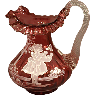 """Fenton Cranberry Glass Pitcher Vase - """"Mary Gregory"""""""