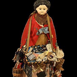 Antique  Papier-Mache Peddler Doll with Dome