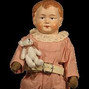 Cute German papier mache Boy with Teddy Bear
