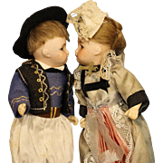 ANTIQUE FRENCH PAIR OF BISQUE DOLLS - 'UNIS' SFBJ - FRANCE