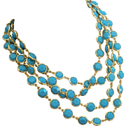 RARE ! Vintage CHANEL Opaque Turquoise Blue Crystal Runway Statement Sautoir Necklace 1981