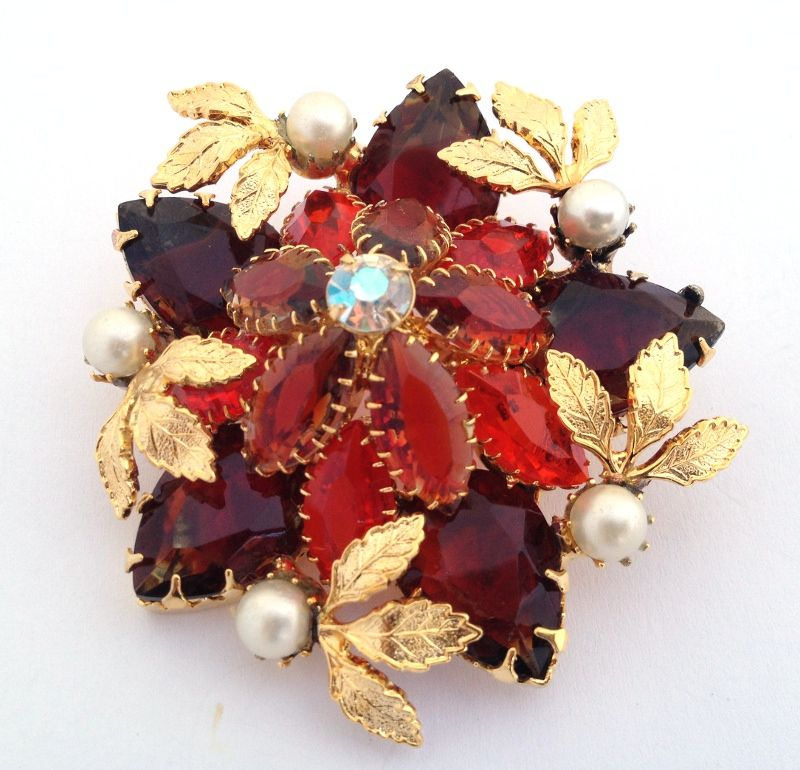 Vintage Designer Rhinestone Crystal Large dome Brooch Pin , Ruby Red