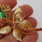 Vintage Designer Austrian / Swarovski  Rhinestone Figural Flower Bud Brooch Pin Peridot Green Topaz