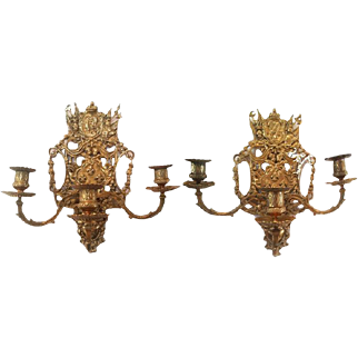 Pair of Antique French King & Queen LOUIS XVI Empire Ormolu Bronze Wall Sconce