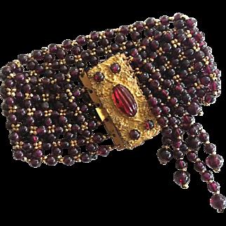 Antique Victorian Pinchbeck Garnet red Tassle Bracelet 1850s pinch beck