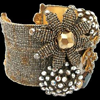 Antique French Fleur de Lis Micro Cut Steel Designer Cuff Bracelet