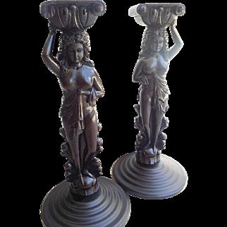 Antique Carved Wood Oak Woman Lady Caryatis Pair Post legs Corbel
