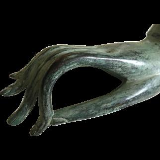 Antique bronze Haussmann Mudra hand Sculpture , Jewellery bracelet display