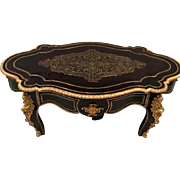 Antique French Napoleon III era Bronze Ormolu Marquetry Boulle Desk Coffee / Center Table
