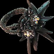 Vintage Miriam Haskell Jet Black Shell Clumper Bracelet