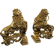 Antique French Empire Style Ormolu Gold gild Bronze Rococo LION Fireplace Andirons Chenets 1850s