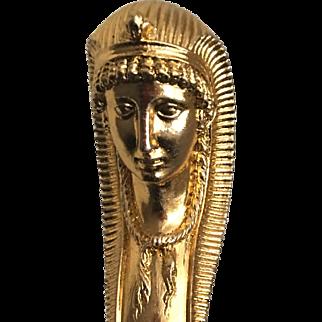 Antique Bronze Ormolu Empire Style Egyptian Goddess ISIS Furniture Corner Decoration Mount Pediment Sculpture