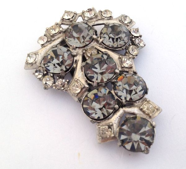 1940s Vintage Pot Metal Black Diamond Austrian Rhinestone Dress Clip Pin Brooch