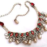 Vintage Designer Austrian Rhinestone & Baroque Pearl Necklace