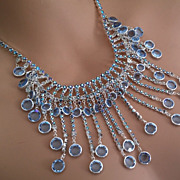 Vintage Designer Austrian L Sapphire Blue  AB Rhinestone Drippy Feston Necklace