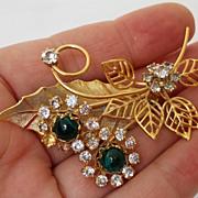 Vintage Designer Austrian Rhinestone Floral Figural Brooch Pin
