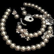 .999 Silver SWAROVSKI Pearl Necklace, Bracelet , Earrings Set