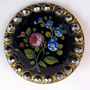 French Emaux Pients Painted Enamel Button C. 1875