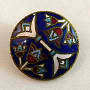 French Champleve Enamel Button Egyptian Motif C.1875