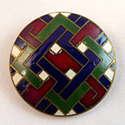 French Enamel Champleve  Button Late 19th C.