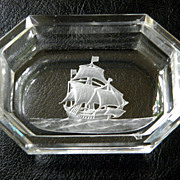 Vintage Beveled Master Salt Etched Sailing Ship Design