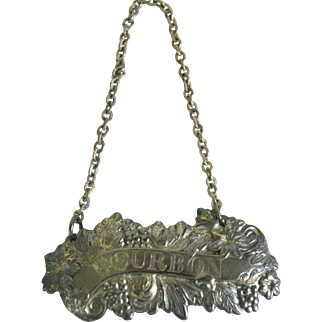 Vintage English Barker Brothers Silver Bourbon Decanter Tag