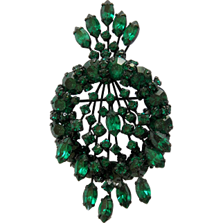 Vintage WARNER Green Crystal Rhinestone Brooch Pin