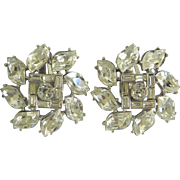 Vintage Bejeweled Crystal Rhinestone Clip-On Earrings