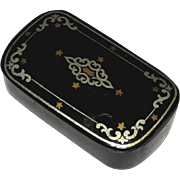 Old Black Lacquered Decorated Hinged Snuff Box, circa 1850