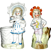 Pair of Charming Bisque Child Figure Toothpick Holders