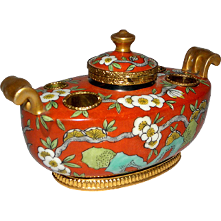 Wonderful Vintage French Porcelain and Brass Decorated Inkwell and Pen Holder
