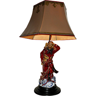 Porcelain Chinese Monkey King Figure 1920's Table Lamp