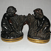 Vintage Borghese Figural Cherub Wheat Harvest Bookends