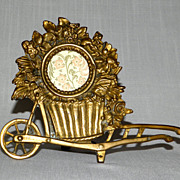 Fine Decorated Vintage Brass Metal Picture Frame as a Wheeled Cart