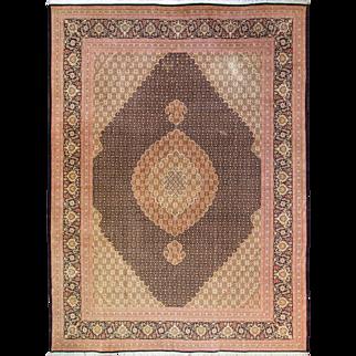 "8'4"" x 11'8"" Wool And Silk Persian Tabriz Mahi Carpet, Fine Quality"