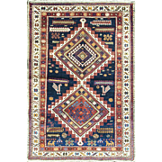 "Magnificent Antique Caucasian Tribal Oriental Rug,, multi colors, 3'5"" x 5'5"""
