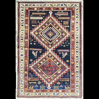 """Magnificent Antique Caucasian Tribal Oriental Rug,, multi colors, 3'5"""" x 5'5"""""""