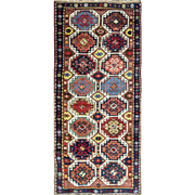 "3'5"" x 8'  Great Antique Caucasian Moghan Runner - Gallery size, Multi Colored"