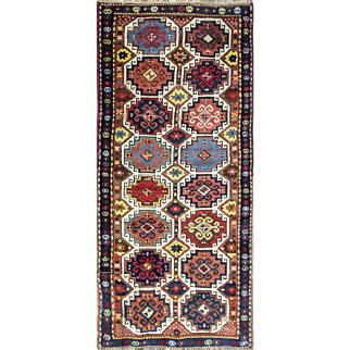 """3'5"""" x 8'  Great Antique Caucasian Moghan Runner - Gallery size, Multi Colored"""