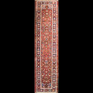 "Antique 3'5"" x 14'5"" Persian Halwai Bijar , Bidjar runner"