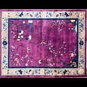 "9'2"" x 11'8"" Antique Art Deco Chinese Oriental Carpet c-1020, Excellent, Cleaned"