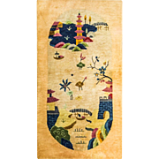 "2'6"" x 4'9"" Stunning Art Deco Rug, c-1920"