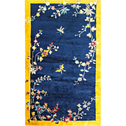 """4' x 6'9"""" Incredible  Art Deco Chinese Oriental Rug, c-1920's"""