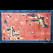 "3'1"" x 5' Fascinating  Art Deco Dragon Chinese Oriental Rug, c-1920's"