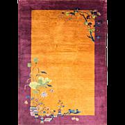 """5'10"""" x 8'8"""" Umber Color Antique Art Deco Chinese Oriental Carpet, c-1920's"""