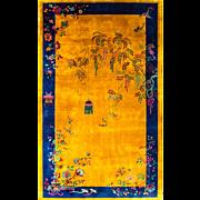 8' x 13' Unusual Manchester Wool Art deco Oriental Carpet, c-1920's
