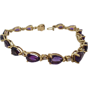 14kt Vintage amethyst ladies line bracelet.