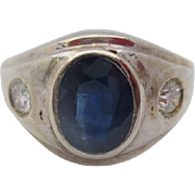 14kt  Sapphire and diamond men's ring
