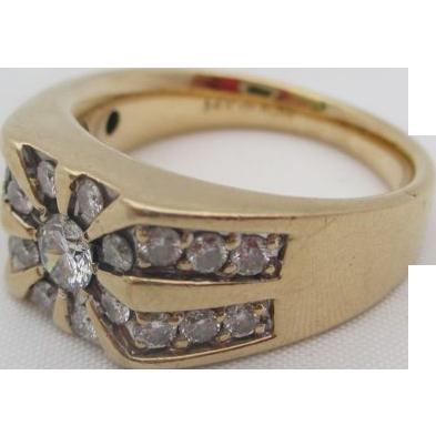 14kt  Diamond gentlemens ring